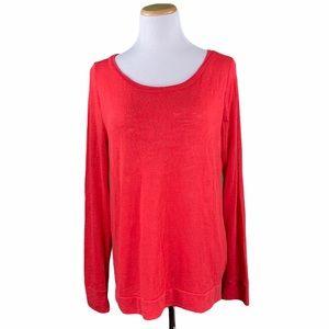 Victoria's Secret Red Long Sleeve Scoop Neck Tee